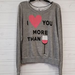 Wildfox I love you more than wine shirt size m